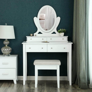 Get songmics vanity table set with mirror and 4 drawers wooden makeup dressing table with large stool gift for women girls white urdt22wt