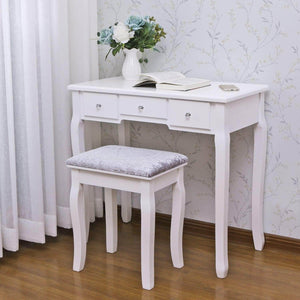 Select nice bewishome vanity set with mirror cushioned stool dressing table vanity makeup table 5 drawers 2 dividers movable organizers white fst01w