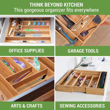 Load image into Gallery viewer, Shop for non slip extra deep expandable large silverware organizer bamboo flatware drawer organizer cutlery tray utensil holder adjustable drawer organizers kitchen drawer dividers by pristine bamboo