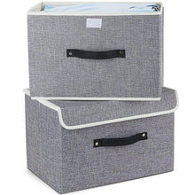 Load image into Gallery viewer, Organize with storage bins set meelife pack of 2 foldable storage box cube with lids and handles fabric storage basket bin organizer collapsible drawers containers for nursery closet bedroom homelight gray