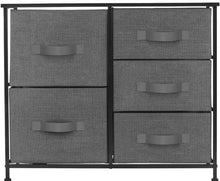 Load image into Gallery viewer, Heavy duty sorbus dresser with 5 drawers furniture storage tower unit for bedroom hallway closet office organization steel frame wood top easy pull fabric bins black charcoal