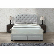 Load image into Gallery viewer, Shop for dg casa 12350 k plt argo tufted upholstered panel bed frame with storage drawers and nailhead trim headboard king size in platinum linen style fabric