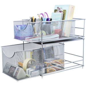 Save sorbus cabinet organizer set mesh storage organizer with pull out drawers ideal for countertop cabinet pantry under the sink desktop and more silver two piece set