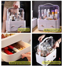 Load image into Gallery viewer, Get fazhen dust proof makeup organizer cosmetic and jewelry storage with dustproof lid display boxes with drawers for vanity skin care products rack dressing table desktop finishing box