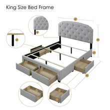 Load image into Gallery viewer, Selection dg casa 12350 k plt argo tufted upholstered panel bed frame with storage drawers and nailhead trim headboard king size in platinum linen style fabric