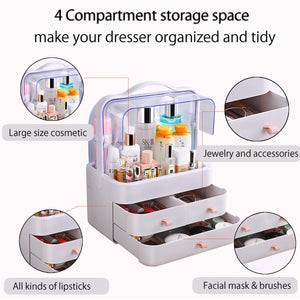 Heavy duty fazhen dust proof makeup organizer cosmetic and jewelry storage with dustproof lid display boxes with drawers for vanity skin care products rack dressing table desktop finishing box