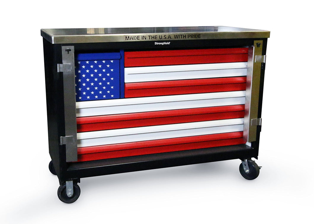Top strong hold american pride special edition 60 w 8 drawer heavy duty rolling tool box cart 400 lbs capacity drawers 12ga steel top compare to snap on 7ga stainless steel top tc 21060