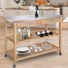 Load image into Gallery viewer, Featured zenstyle 3 tier rolling kitchen island utility wood serving cart stainless steel countertop kitchen storage cart w shelves drawers towel rack