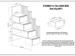 Budget bedz king stairway bunk beds twin over full with 4 drawers in the steps and a twin trundle white