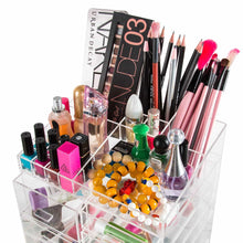 Load image into Gallery viewer, Buy cq acrylic extra large 8 tier clear acrylic cosmetic makeup storage cube organizer with 10 drawers the top of the different size of the compartment suitable for storing lipstick and makeup brush