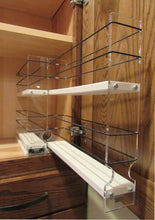 Load image into Gallery viewer, Featured vertical spice 22x2x11 dc spice rack narrow space w 2 drawers each with 2 shelves 20 spice capacity easy to install