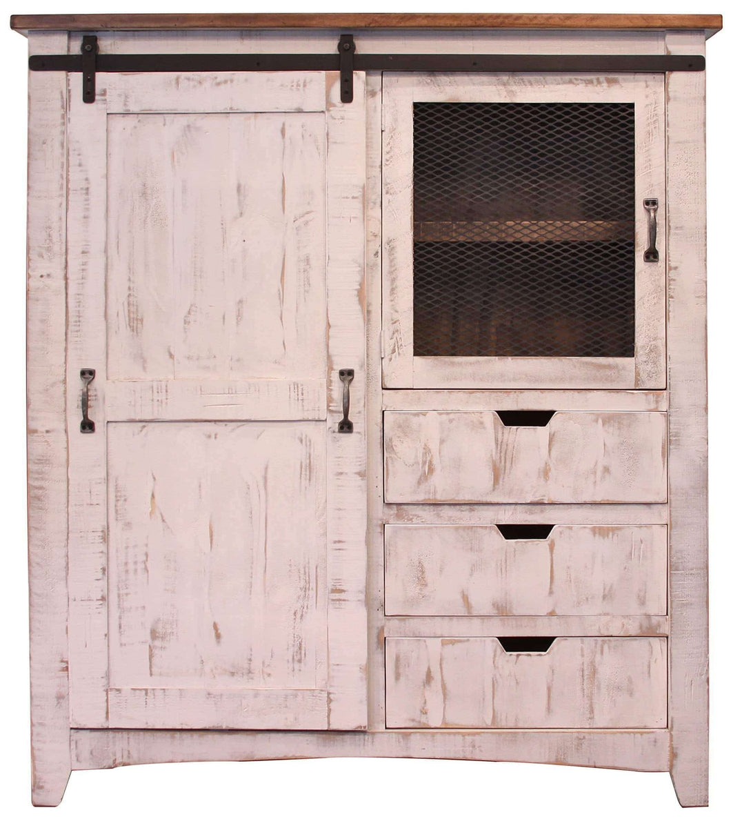 Heavy duty rr distressed white sturdy solid wood anton sliding barn door gentlemans chest armoire arrives fully assembled and features upgraded dovetail drawers with ball bearing glides