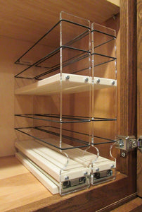 Get vertical spice 22x2x11 dc spice rack narrow space w 2 drawers each with 2 shelves 20 spice capacity easy to install