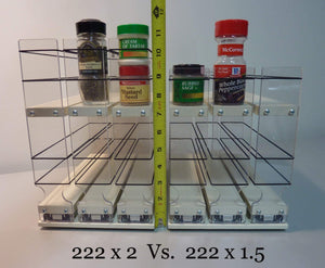 Discover the best vertical spice 22x2x11 dc spice rack narrow space w 2 drawers each with 2 shelves 20 spice capacity easy to install
