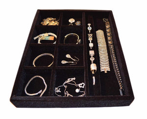 Best seller  jewelry drawer organizer wood and velvet tray for jewels rings necklaces bracelets 10 compartments protects jewelry drawer insertable stackable and durable made in usa black 15x12x2