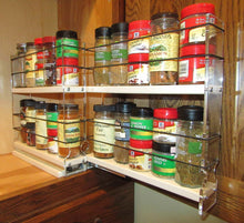 Load image into Gallery viewer, Explore vertical spice 22x2x11 dc spice rack narrow space w 2 drawers each with 2 shelves 20 spice capacity easy to install