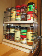Load image into Gallery viewer, Exclusive vertical spice 22x2x11 dc spice rack narrow space w 2 drawers each with 2 shelves 20 spice capacity easy to install