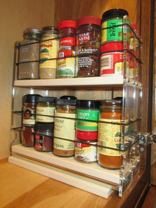 Exclusive vertical spice 22x2x11 dc spice rack narrow space w 2 drawers each with 2 shelves 20 spice capacity easy to install