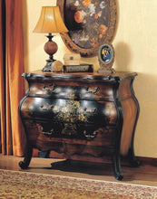Load image into Gallery viewer, Results major q 9009205 34 h painted floral design traditional style 3 drawer storage bombay chest in antique black and oak finish