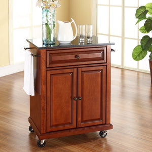 Cherry Portable Kitchen Island Cart w/ Granite Top & Locking Wheels