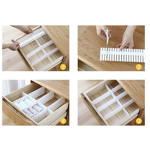 Plastic DIY Grip Drawer Dividers Organizer, Dresser Kitchen Office Drawer Organizer Accessories Underwear Tools Utensil Plastic Storage
