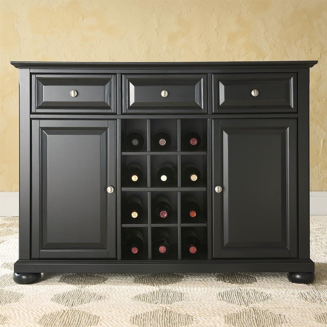 Black Wood Sideboard Buffet Server Table Dining Storage Cabinet