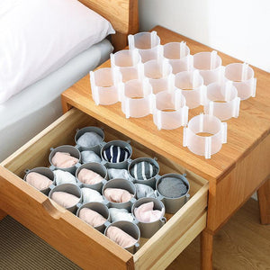 6 PCS Drawer Divider Free Combination Underwear Socks Storage Lattice Wardrobe Compartment