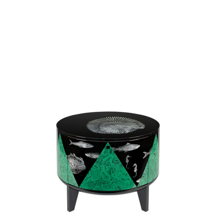 Fornasetti Tamburo table Marino colour - with drawer divider