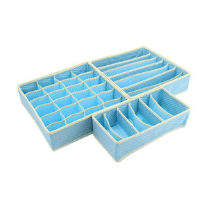 DINIWELL  Home Organizer New Blue Nonwoven Foldable Storage Boxes Ties Sock Bra Underwear Divider Drawer Lidded Closet Box Set