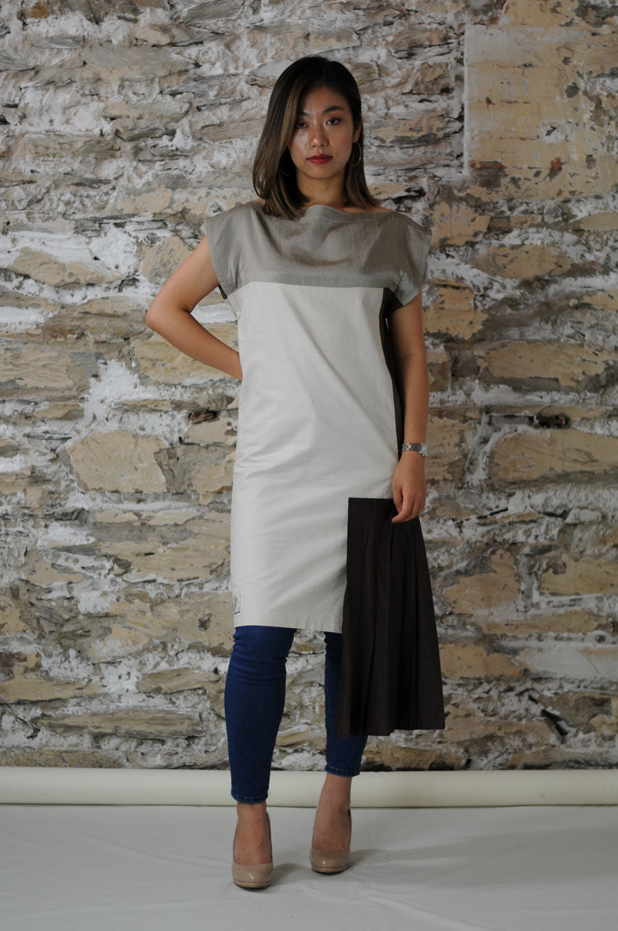 #MultiStyleDress brown + beige + silver + pleats