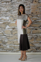 Load image into Gallery viewer, #MultiStyleDress brown + beige + silver + pleats