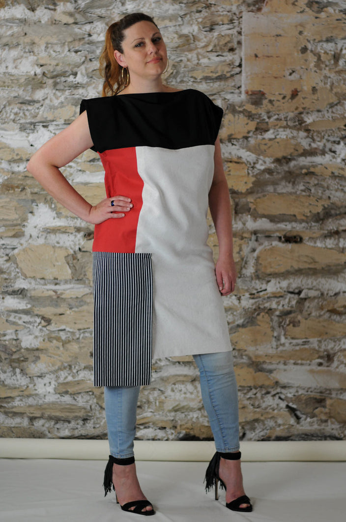 #MultiStyleDress  red + black + white + stripes
