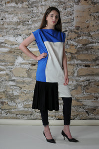 #MultiStyleDress blue + white + black + pleats