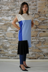 #MultiStyleDress blue + light blue + black + pleats