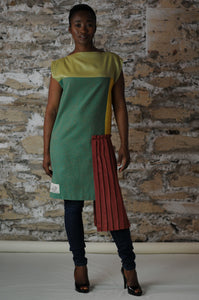 #MultiStyleDress green + gold + red + pleats