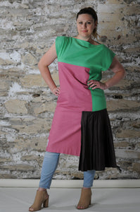 #MultiStyleDress green + pink + brown + pleats