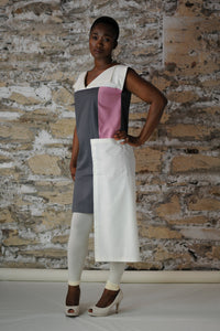 #MultiStyleDress pink + gray + cream
