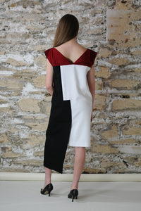 Back of the evening dress with sensual red v-neck