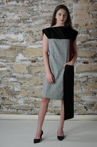 dress made from recycled fabric reversible boat neck side pocket styled elegantly