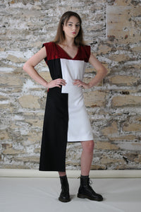 Reversible dress v-neck red black white side pocket