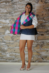 #MultiFaceJacket green + pink + check + silk + denim + black