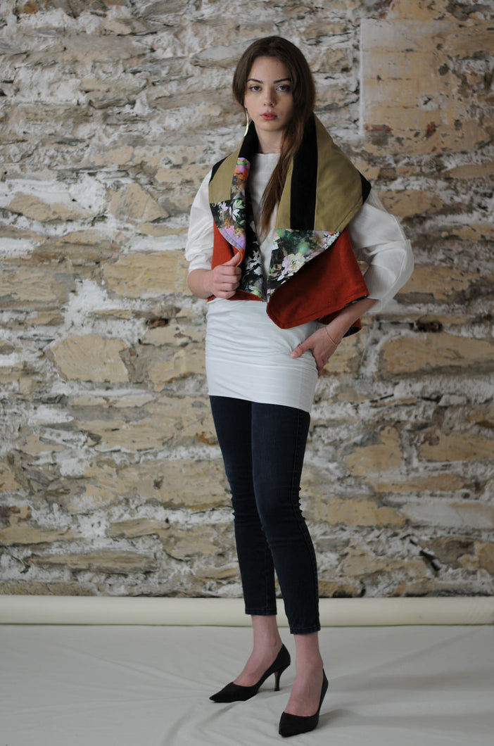 #MultiFaceJacket terracotta + beige + floral + black + denim