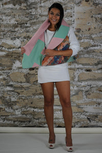 #MultiFaceJacket green + pink + geometrical
