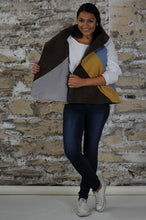 Load image into Gallery viewer, #MultiFaceJacket denim + vegan suede + brown + grey