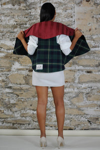 #MultiFaceJacket gold + black + plush + green + tartan