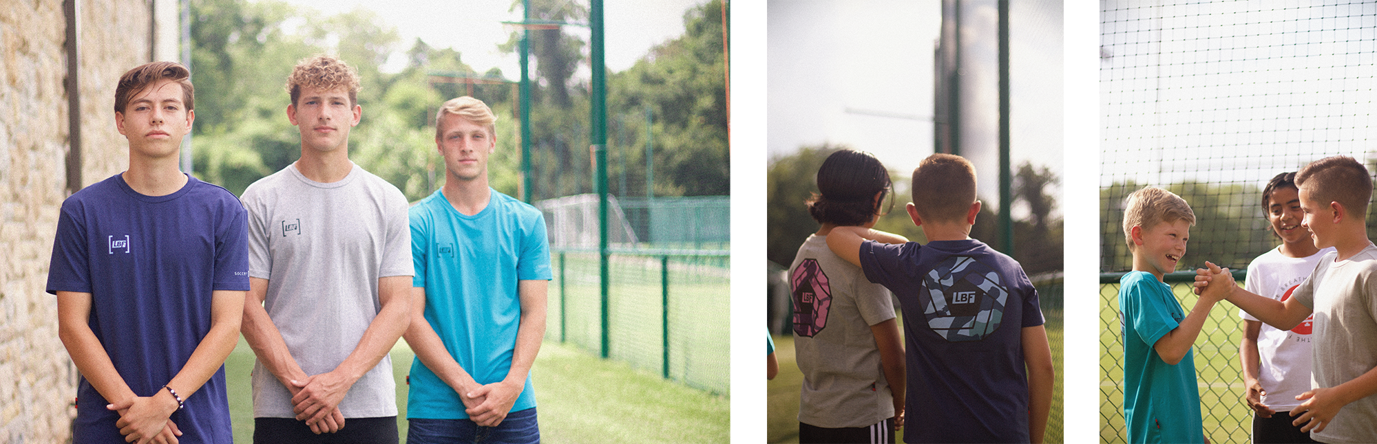 On the left, SKC U19 Academy players stare straight into the camera, on the right, SKC U13 Academy players interact by shaking hands and leaning on one another.