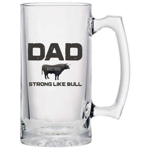 Dad Strong Like Bull Beer Mug