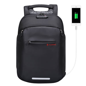 Aoking Multifunctional TSA Lock Luggage Men Backpack with External USB Charge fit 15.6 Men Fashion Waterproof Laptop Backpack