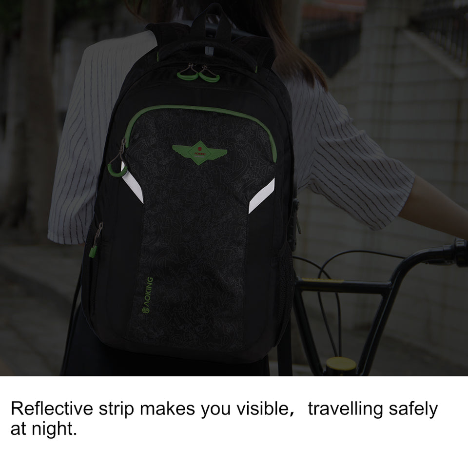 Safe travel backpack with reflective strip