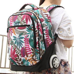 Aoking Fresh College School Girls 26'' Trolley Backpack Luggage Floral Trolley For Teenager Fashion Flower Laptop Rolling Backpack For Travelling